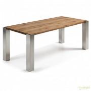 Masa dining cu picioare din otel si blat lemn de stejar ULRIC 220x100cm C481M40 JG
