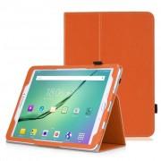Samsung Galaxy Tab A 9.7 T550 - Leather Book Cover Flip Hoes voor bescherming voor- en achterkant - Kleur Oranje