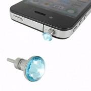 iPhone 4 iPad Hörlursuttag Smycke Kristall (Mörkblå)