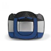 FurHaven Foldable and Portable Mesh Pet Playpen: Sailor Blue/Small