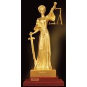 """Ръчно изработена статуетка с 22 карата златно покритие """"Темида"""" (A071)"""