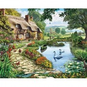 White Mountain Puzzles Lakeside Cottage - 1000 Piece Jigsaw Puzzle