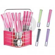 24 részes evőeszköz készlet pink csíkos PH-22109A