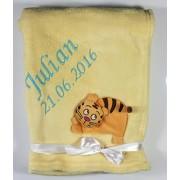 3d Baby manta bordada con nombre y fecha de nacimiento/suave/con 3d bordados y alta calidad caja/1 A calidad Gelb - TIGER