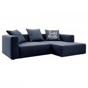 Hoekbank Heaven Casual - longchair vooraanzicht rechts - Met slaapfunctie - Stof TCU16 navy blue, Tom Tailor