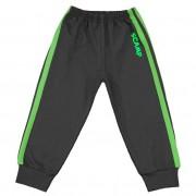 Pantaloni trening cu elastic in talie negru cu dungi verzi