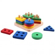 Happy Cherry Baby Children Wooden Stacking Shapes Sorting Board Stack and Sort Board Educational Toy