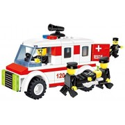 Speed Car 103 Pcs Building Blocks Rapid Police Rescue 4 X4 Long Chasis Jeep Ambulance With A Patient Stretcher Full Action Figures Lego Compatible Parts Come Only With One Figure