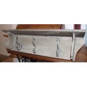 Handtuchhalter braun mit 3 Metallhaken im Landhausstil