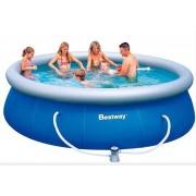 Bestway - Кръгъл басейн с надуваем ринг и филтрираща помпа - 366 х 91см