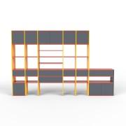 Wohnwand Gelb, MDF, 305 x 194 x 35