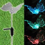 Luminária Solar para Jardim em PVC Borboleta 1379 2 Peças