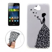 For Huawei Y6 Pro Butterfly and Girl Pattern Transparent Soft TPU Protective Back Cover Case