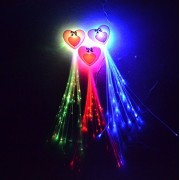 "(6 Pk) 14"" Led Heart Flashing Hair Braid Extensions, Fiber Optic Light Up Flash Barrette Clip Braid, Assorted Colors"