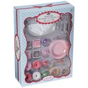 Doll Dessert & Display 42 Pc. Set for 18 Dolls Play Doll Food Setting Includes Tiered Dessert Display Serving Tray 4 Plates 4 Silverware Sets 4 Petit Fours 4 Cupcakes 1 Bon Bon 1 Taramisu 1 Chocolate Mousse Pie & Much More Perfect for American Girl Doll F