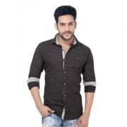 Goplay Black Cotton Apple Cut Shirt For Men
