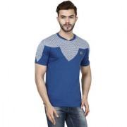 Demokrazy men's Blue printed Round neck T-shirt