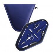 Manikyrset, mörk marinblå trekantigt fodral, 6 verktyg