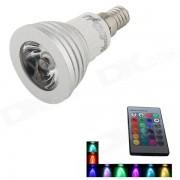 YouOkLight YK0755 E14 3W 1-LED 16-Color Decorative Lamp w/ Remote Control - Silver + White
