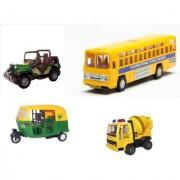 Centy Pack Of 4 Cng Auto City Bus Concerete Mixer Commando Jeep