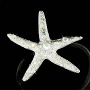 Beach Wedding Swarovski Crystal Big Starfish Ponytail Hair Band