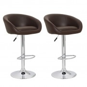 vidaXL Set luxusních polstrovaných barových židlí z umělé kůže - hnědý