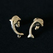 Semi Earring Jewelry Gold Plated Dolphin