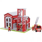 Bigjigs Baby Toys Heritage Playset Fire Station And Engine
