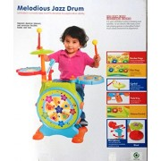Jaibros Melodious Jazz Drum with sweet songs, melodies, microphone and sitting stool