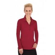 Trigema Damen Langarm Polo-Shirts mit Swarovski® Kristallen Größe: L Material: 94 % Baumwolle, Mako-supergekämmt, 6 % Elastan Farbe: rubin