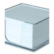Кубче бяла хартия с пластм.поставка, 500л. 84х84 мм