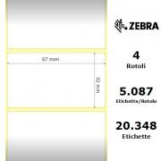Zebra Z-Select 2000T - Etichette in carta patinata di colore bianco, formato 57 x 32 mm.