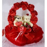 Red Satin Rose Handle Heart with Love Couple Teddy Bears