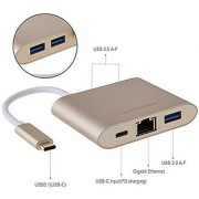CableCreation USB 3.1 Type C to USB3.0/Ethernet/Type C PD Charging Adapter for Macbook Chromebook Pixel/Dell XPS 13/Yoga 900/Asus Zen AIO/Lumia 950 Gold Color