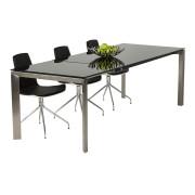 Table à dîner extensible 'GLAGLA' noire en verre - 160(230)x90 cm