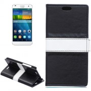 Color Matching Flip Leather Case with Holder & Card Slots & Wallet for Huawei Ascend G7(Black)