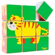 Magideal Wooden Cube Animals Puzzle Colourful Building Blocks Jigsaw Motor Skills Toy