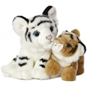 "White Tiger & Bengal Tiger Cub ~7"" Plush: Miyoni Unlikely Friends Series"