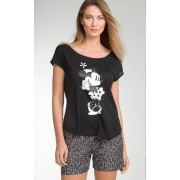 Pijama Feminino Mixte Adulto Short Doll Minnie Preto e Branco