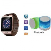 YSB Music Mini Bluetooth Speaker(S10 Speaker) And DZ09 Smart Watch for XOLO PLAY 6X-1000