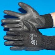 Kesztyű (PU tenyérmártott), méret: L, fekete