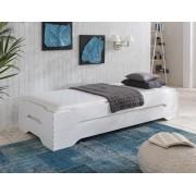 STAPELBETT Gästebett (2x) Betten 90x200 Kiefer weiß lackiert + Matratzen ESTER H3