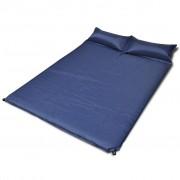 vidaXL Син самонадуващ се матрак за спане 190 х 130 5 см (двоен)