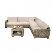 Rotin Design Salon de ratan Corner marron moderno: 1 sofa, 2 sillones y una mesa (Sable)