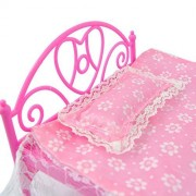 DSstyle Pink Mini Bed With Pillow for Barbie Dolls Dollhouse Bedroom Furniture