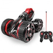 Race five Wheels Stunt car Remote Control RC Vehicle with LED Headlights ?Extreme High Speed? 360 Degree Rolling Rotating Rotation ?Color?RED?