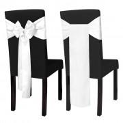 vidaXL Бяла сатенена декоративна панделка за стол, 25 бр