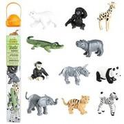 Safari Ltd Zoo Babies Toy Figurine TOOB With 11 Adorable Baby Animals Including Baby Zebra Panda Hippo Chimpanzee Rh