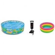 Jainsoneretail Intex Combo 5 Feet Sunset Glow Inflatable Pool 2 Feet Water Bath Tub With Air Pump