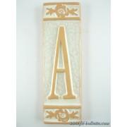 Numero civico ceramica con fiore bianco nfb11